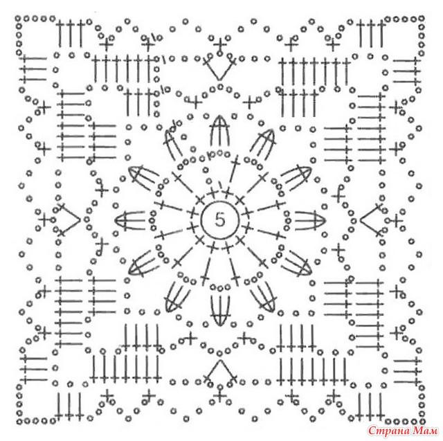 Узор для вязания крючком квадраты