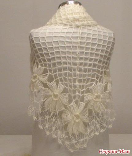 Шаль - вязание на вилке