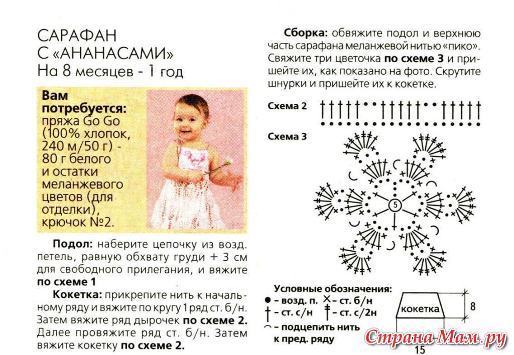 Схема вязания крючком детского платья для начинающих 18