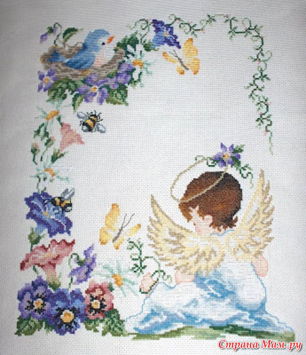 Метрика вышивка с ангелами