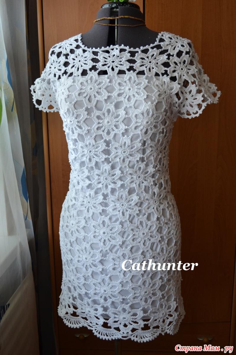 Платье мотивами крючком