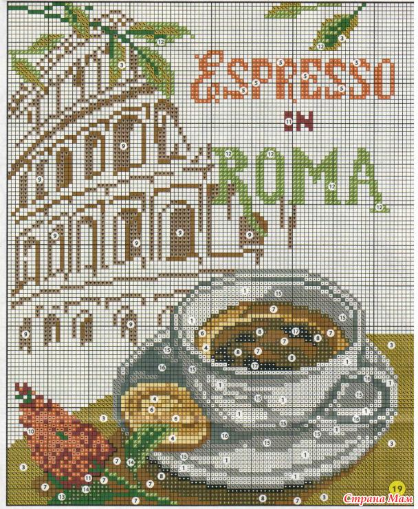 Кофейная тематика в вышивке
