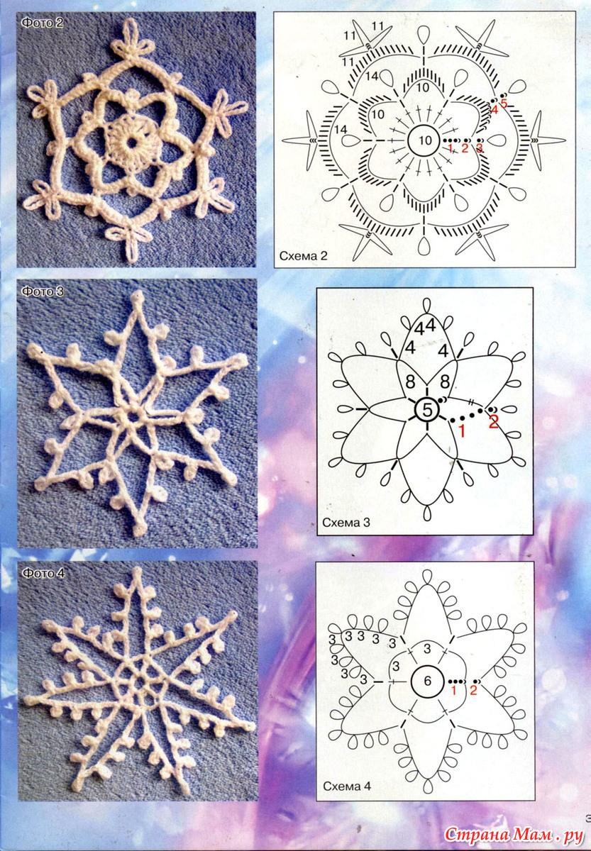 Вязание снежинок схемы для начинающих
