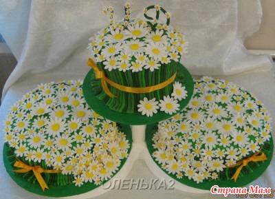 Торт поле с цветами