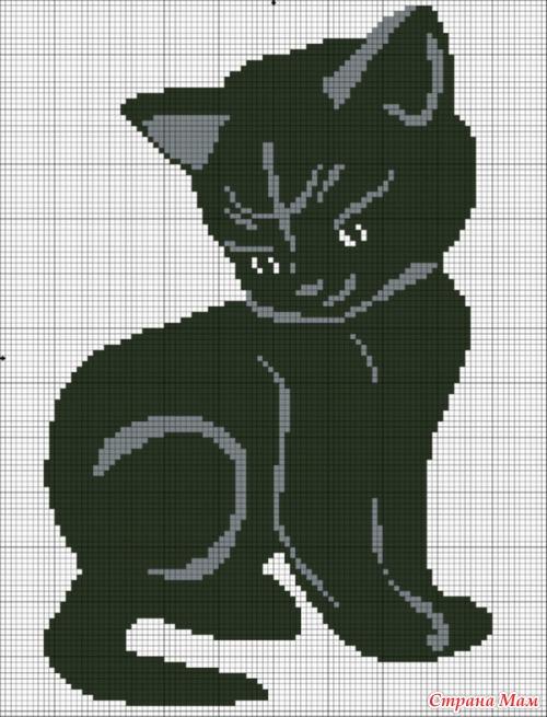 Вышивки Монохром Кошки.