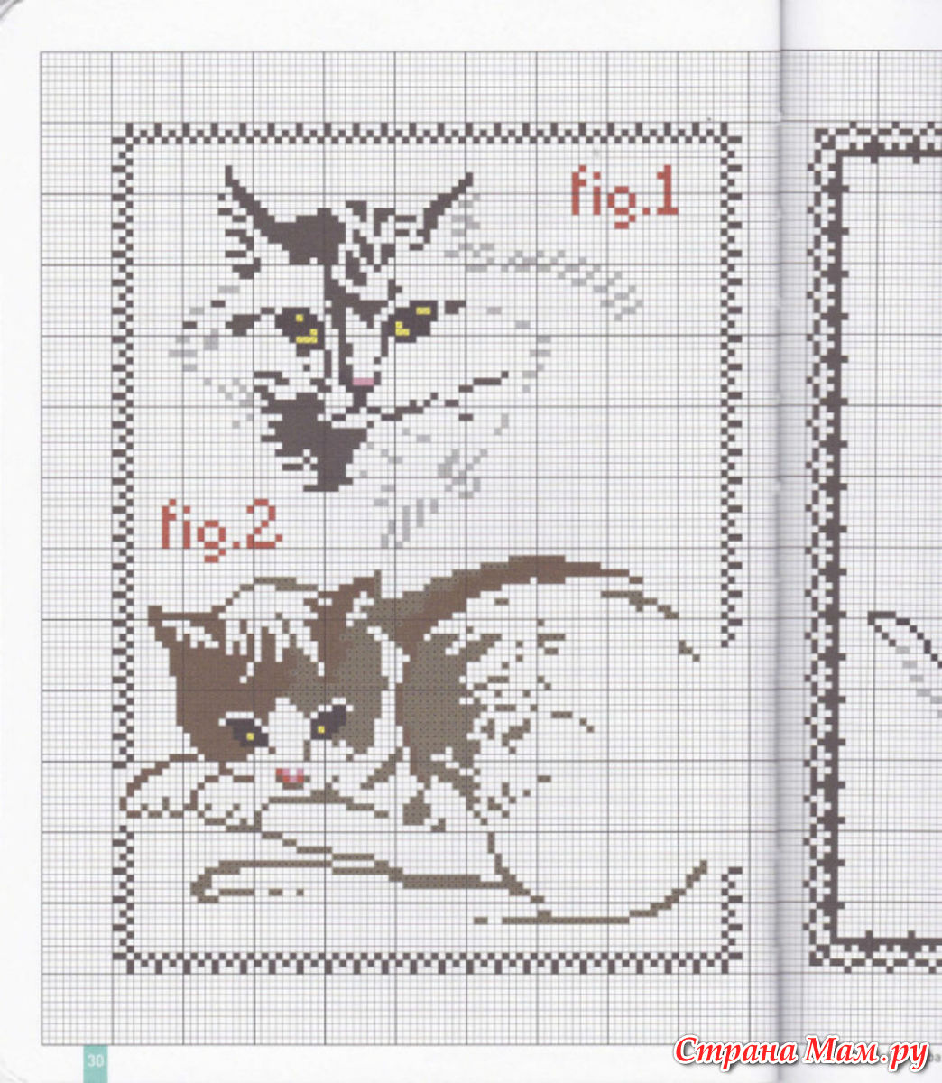 Контурная вышивка кошек 11