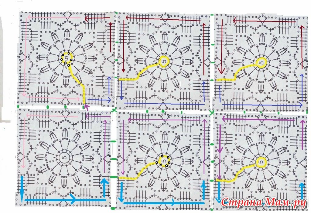 Вязание крючком схемы квадратных мотивов безотрывное вязание 23