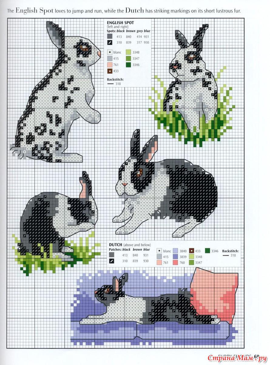 Схемы для вышивки крестом зайцев-кроликов 69