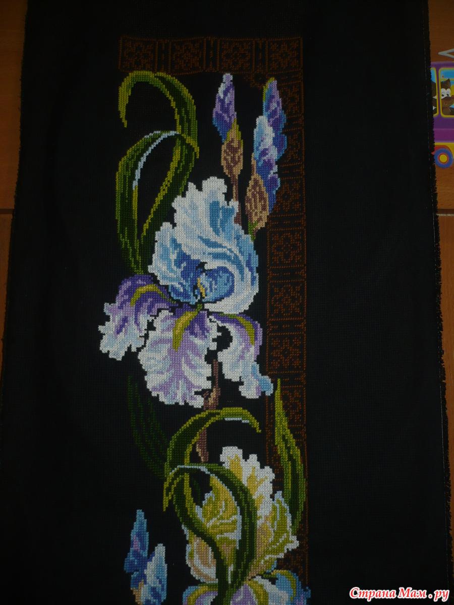 Вышивка ирисы на черной канве