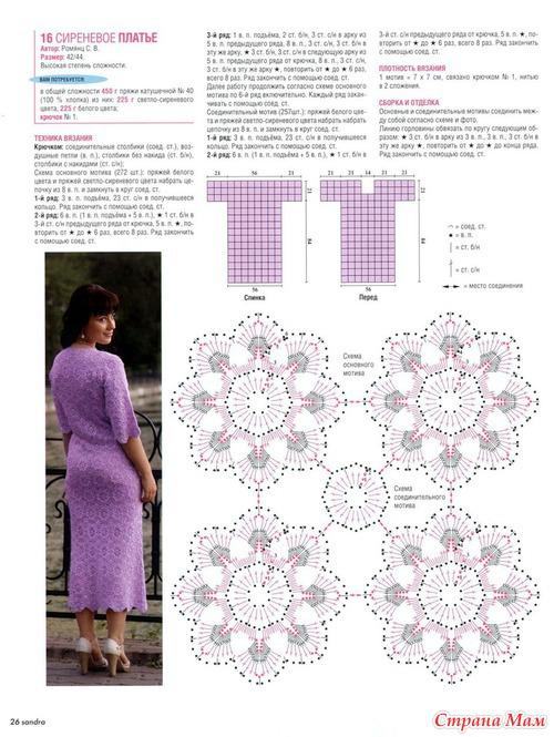 Вязание крючком платьев из мотивов