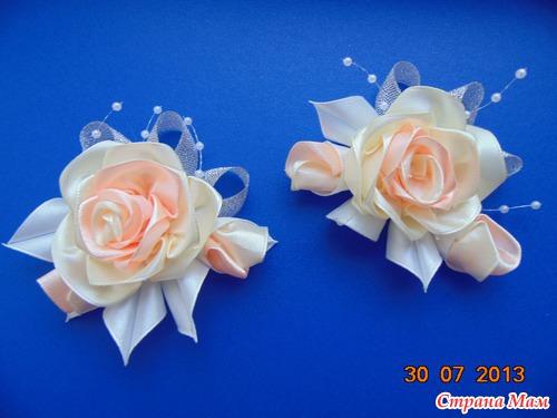 Цветок из канзаши своими руками свадебная 98