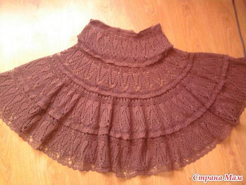 Вязание юбка на кокетке спицами