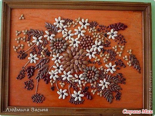 Картины из круп и семян своими руками фото поделки