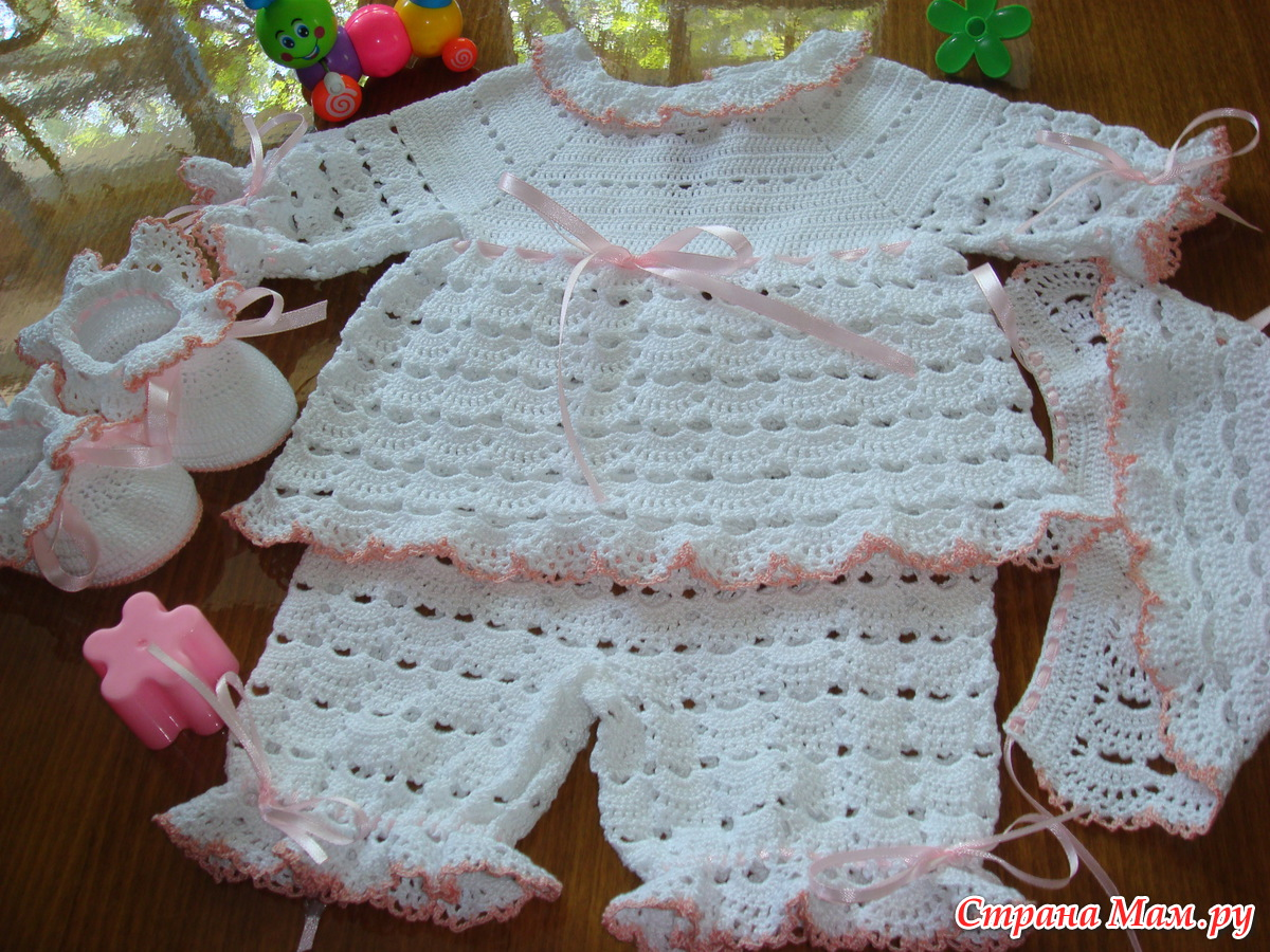 Комплект для новорожденного, описание, пример вязания 1