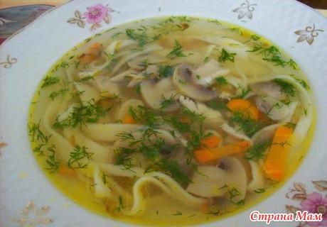 суп с грибами и вермишелью рецепт