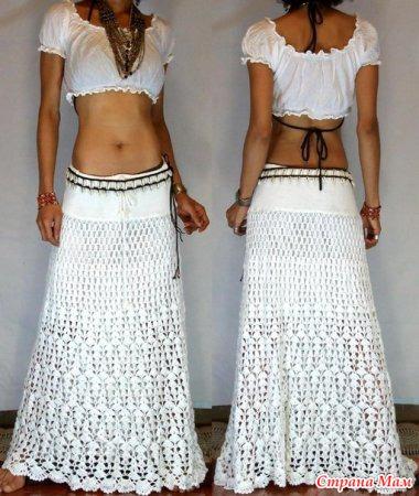 Длинная белая юбка крючком видео