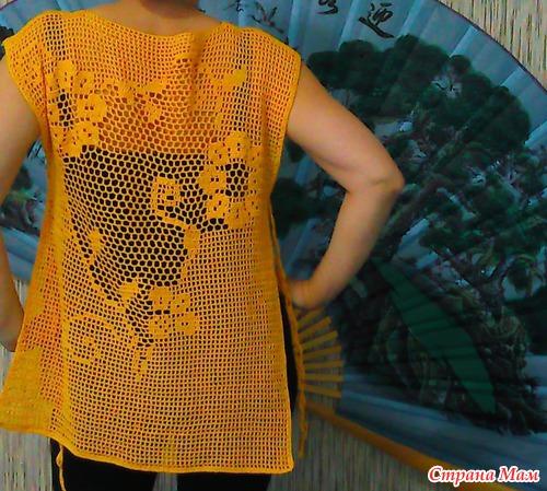 Филейное Вязание Блузки Топы Туники