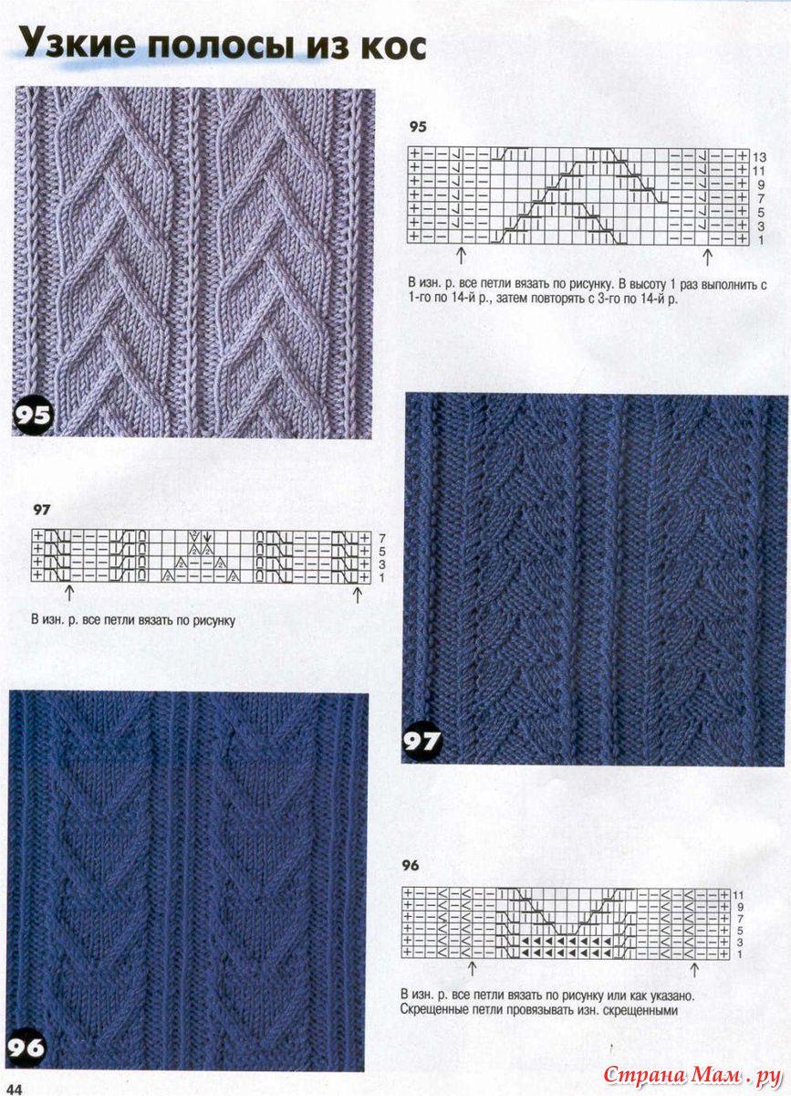 Вязание спицами узкие косы