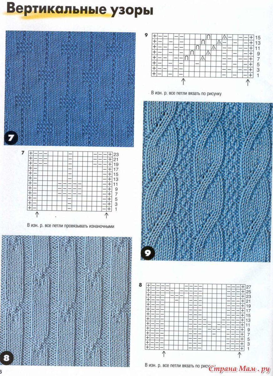 Узоры выпуклые вязания на спицах и их описание 407