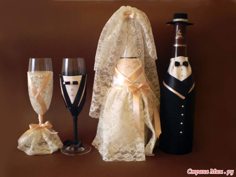 Как самой украсит свадебные бокалы