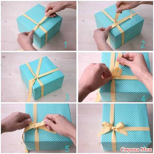 Как сделать бант для подарка из ленты
