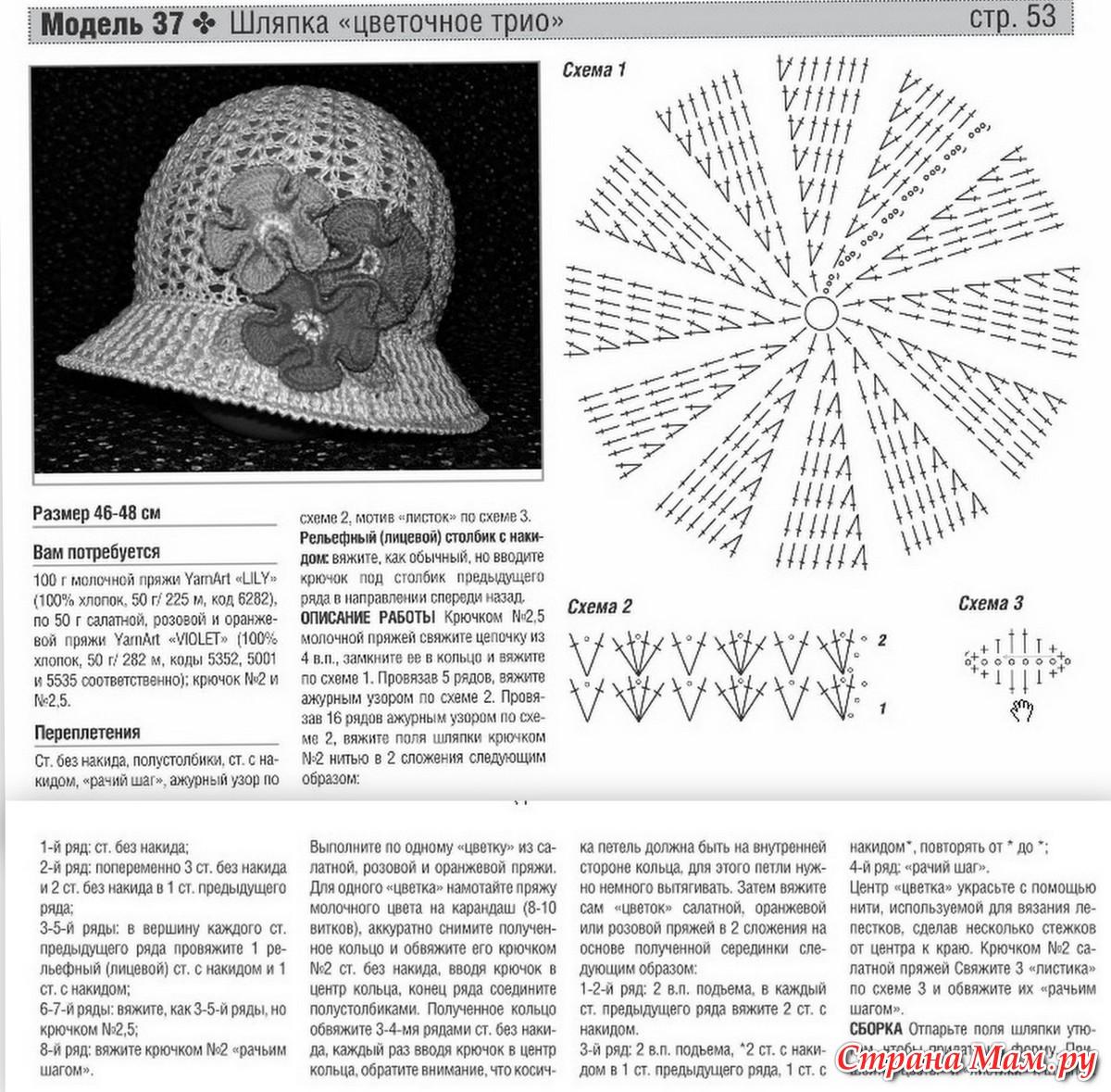 Летние шляпки для женщин крючком схемы и видео МК: 16 моделей 11