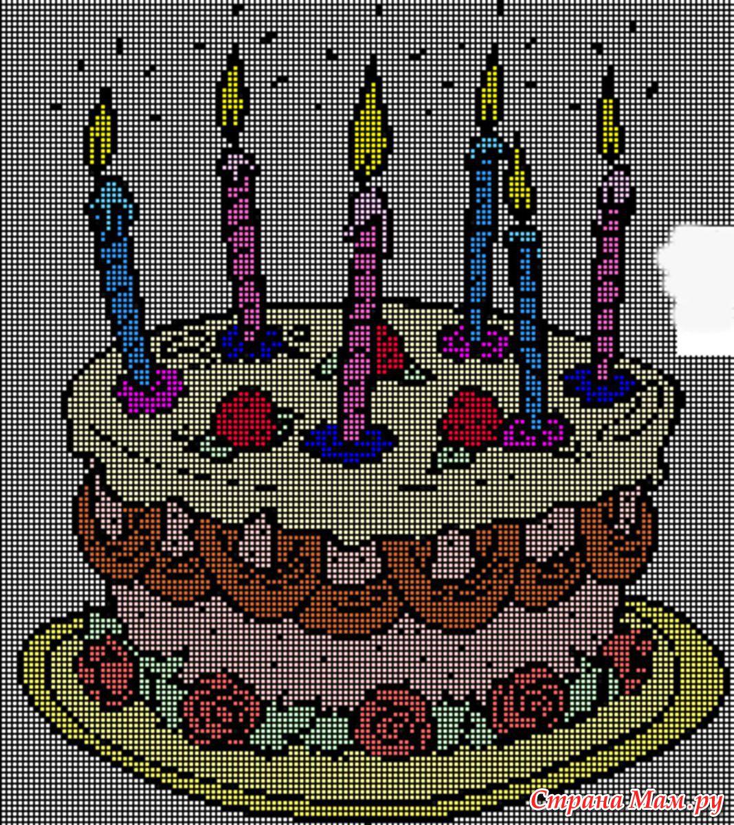 Схема вышивки крестом для мамы с днем рождения