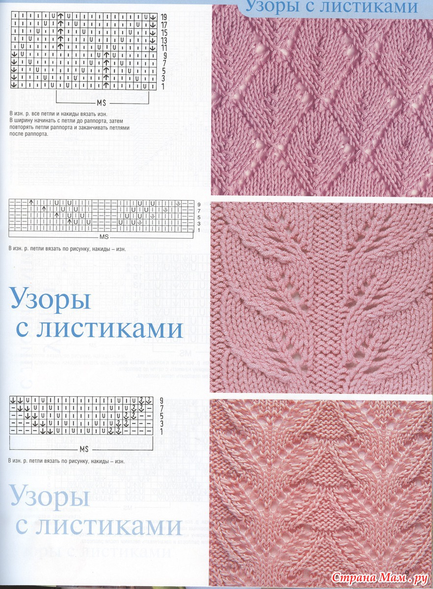 Узор листа спицами схемы и разновидности Вязание спицами 39