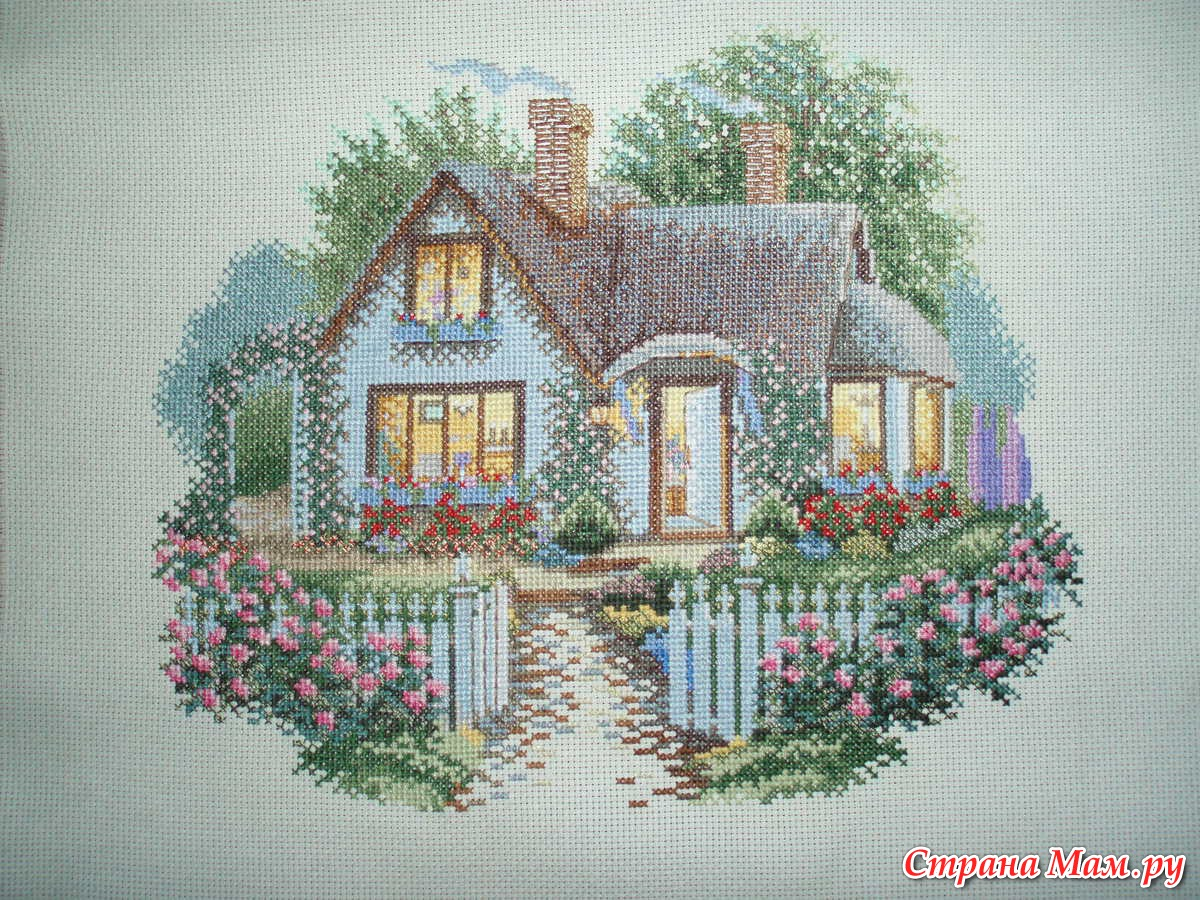 Схема вышивки домик с розами