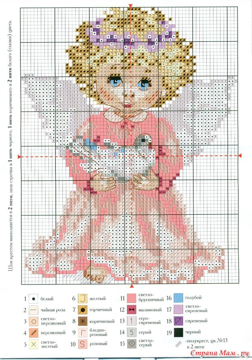 Схема для вышивки крестиком ангелочек