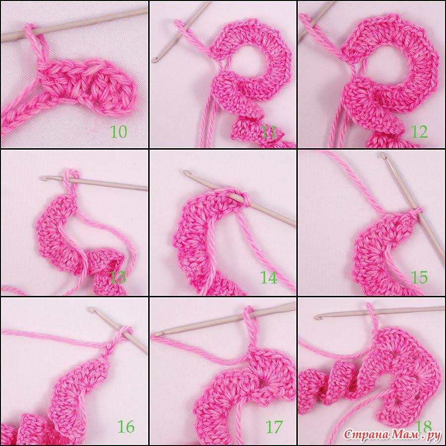Схема вязания крючком цветка для начинающих с пошагово
