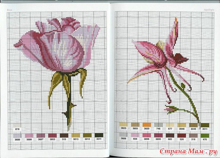Схемы вышивки крестом одного тюльпана