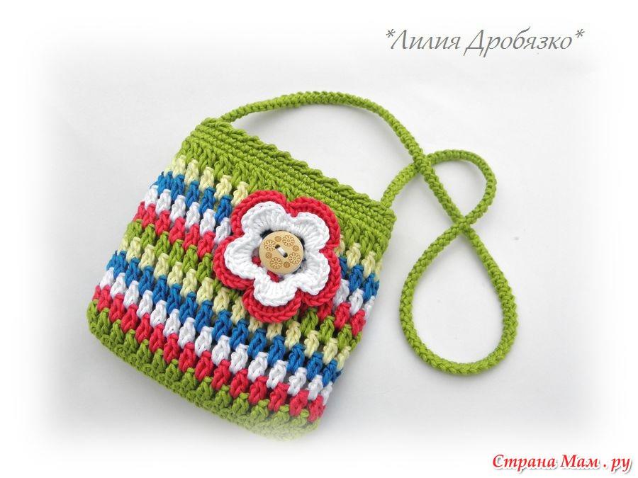 Вязаная спицами сумочка для девочки своими руками 21