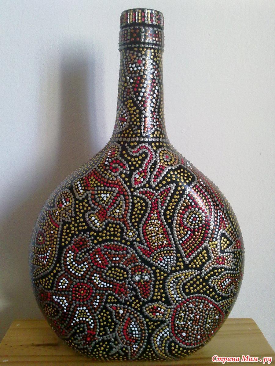 Точечный рисунок на бутылке для начинающих пошагово