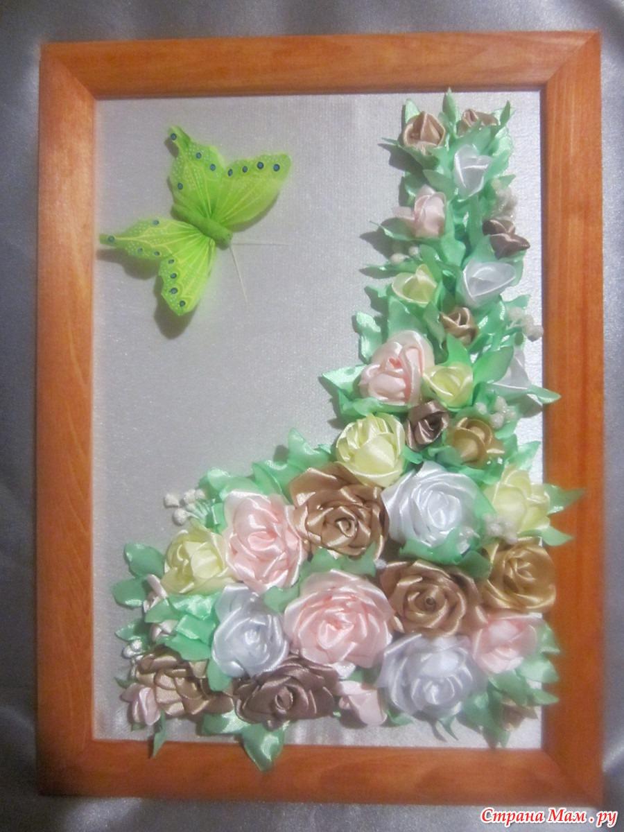 Панно с цветами канзаши фото