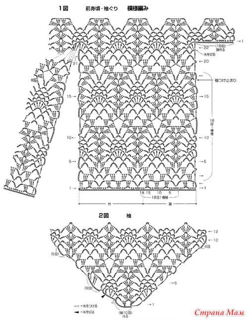 Вязание крючком кофт рисунком ананас