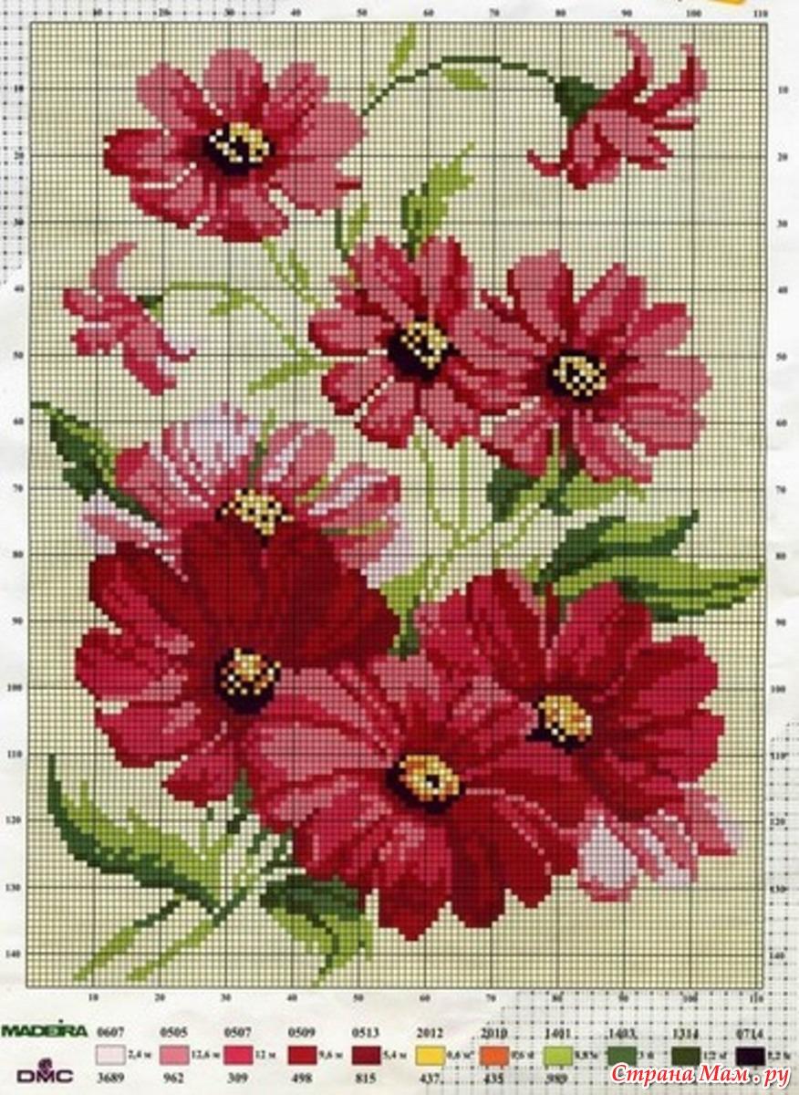Схемы вышивки крестом бесплатно скачать Цветы, букеты