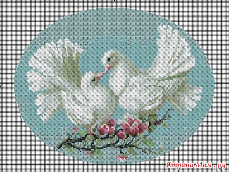 Скачать схему вышивания голуби