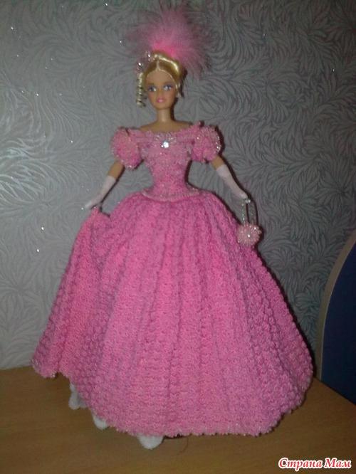 Новое платье для красавицы Барби.  Платье и сумочка вязанные крючком с бисером.