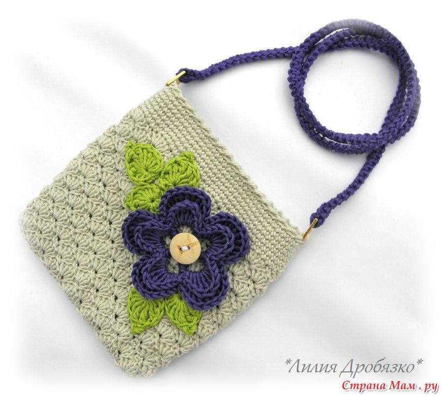 Вязаная спицами сумочка для девочки своими руками 45