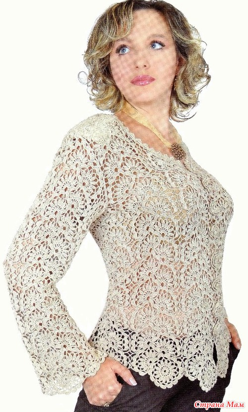 Ленточное вязание крючком блуза