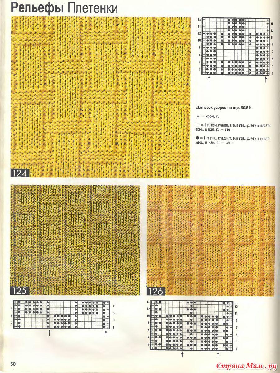 Схемы для вязания на спицах рельефных узоров спицами 167