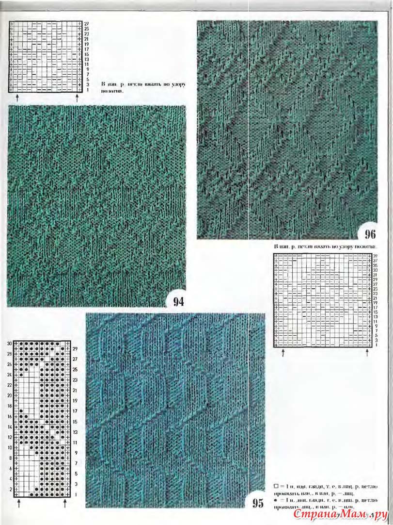рельефные узоры спицами схемы