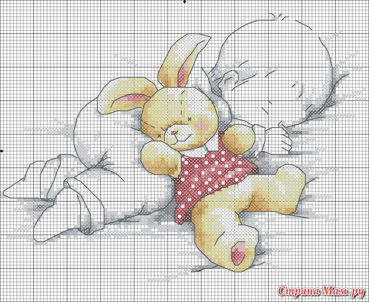 Схема мальчик с мишкой крестиком