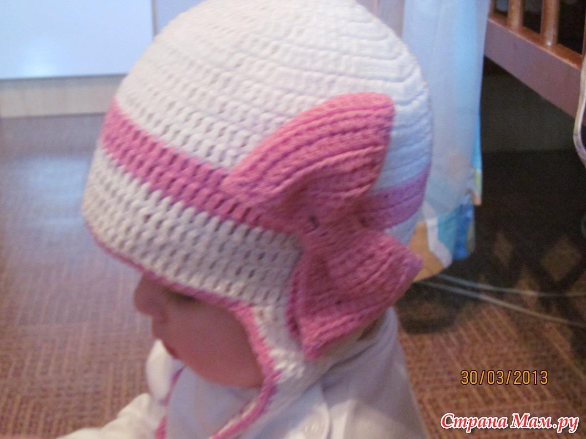 Детская шапочка с бантиком вязание 79