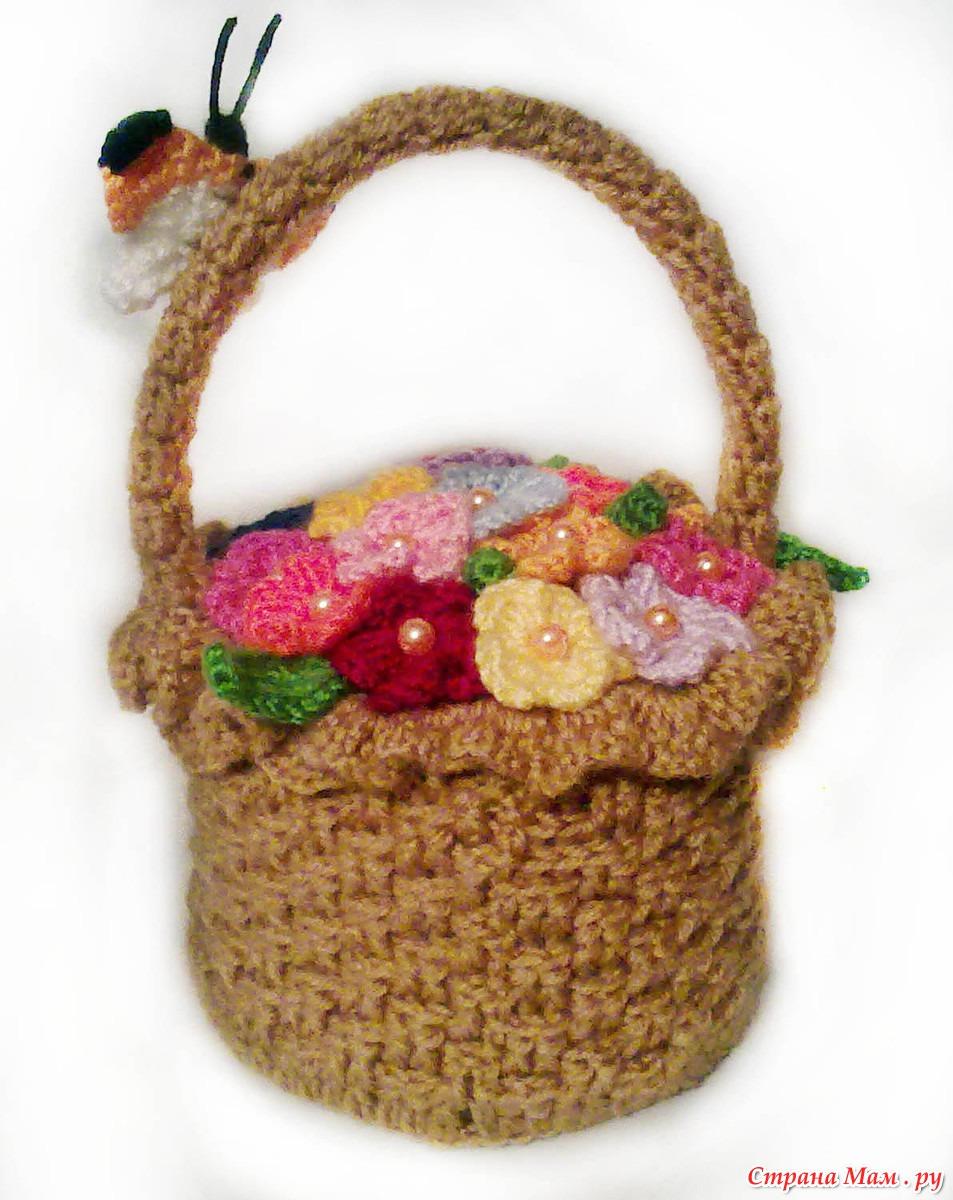 Вязаные корзинки с цветами фото