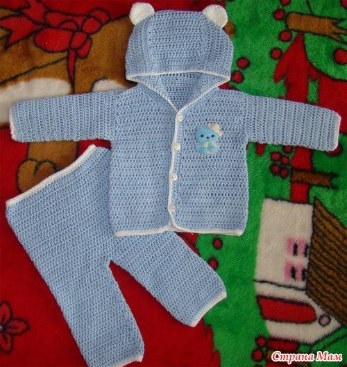 Вязание крючком костюм для новорожденной