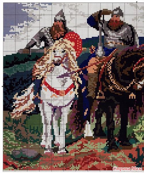 Схемы вышивка крестом три богатыря