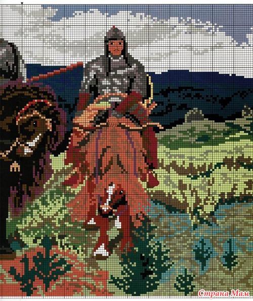 Картина три богатыря вышивка