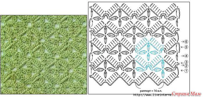 Вязание крючком красивых узор со схемами